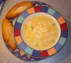 Boccoli-Corn (Mostly) Cheddar Chowder